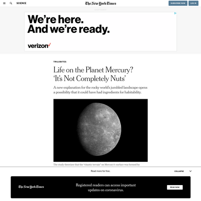 Life on the Planet Mercury? 'It's Not Completely Nuts'