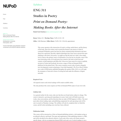 Northwestern ENG311: Print on Demand Poetry: Making Books After the Internet