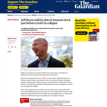 Jeff Bezos sold $3.4bn of Amazon stock just before Covid-19 collapse