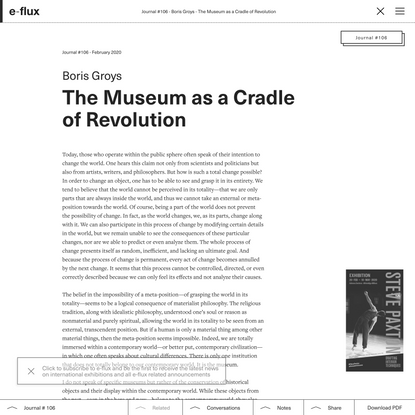 The Museum as a Cradle of Revolution - Journal #106 February 2020 - e-flux