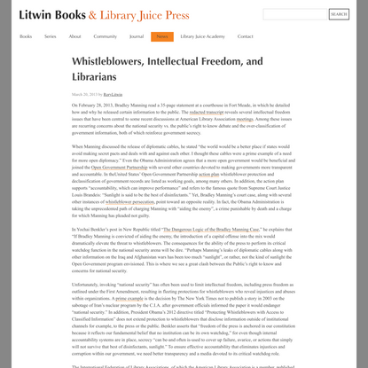 Whistleblowers, Intellectual Freedom, and Librarians   Litwin Books & Library Juice Press