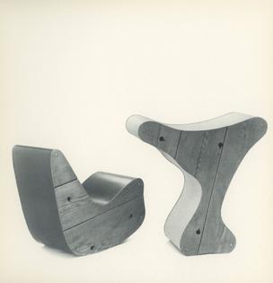 Rocker, 1942. Seating Unit or Sculpture Pedestal, 1942.