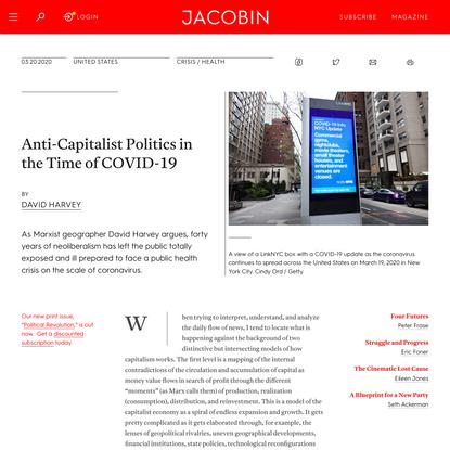 Anti-Capitalist Politics in the Time of COVID-19
