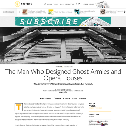The Man Who Designed Ghost Armies and Opera Houses - Issue 38: Noise - Nautilus