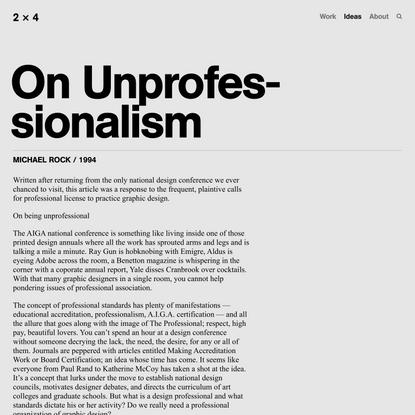 On Unprofessionalism — 2x4
