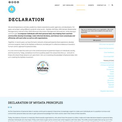 Declaration – MyData.org