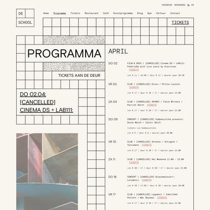 Programma - De School Amsterdam