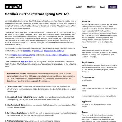 Mozilla's Fix-The-Internet Spring MVP Lab