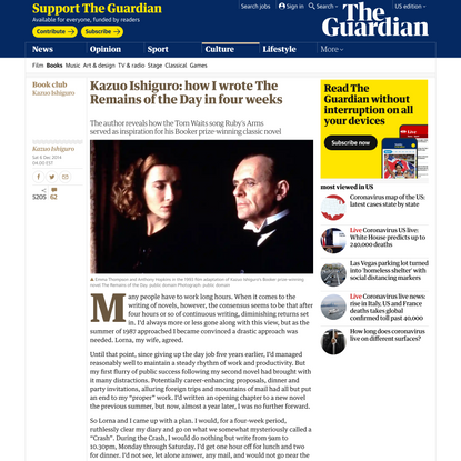 Kazuo Ishiguro: how I wrote The Remains of the Day in four weeks