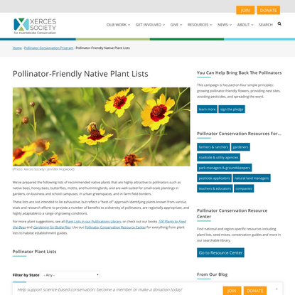 Pollinator-Friendly Native Plant Lists | Xerces Society