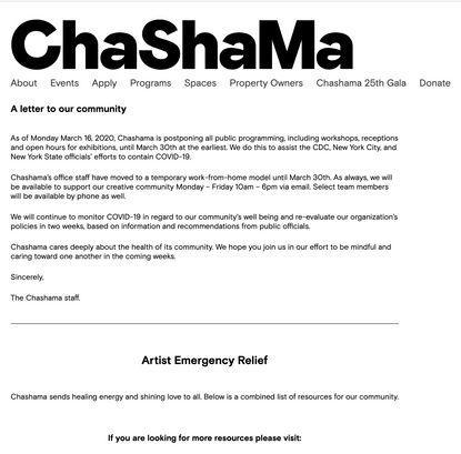 A letter to our community | Chashama