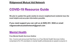 Covid-19 Resource Guide_Ridgewood Mutual Aid Network