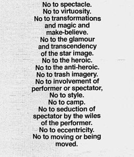 Yvonne Rainer, No Manifesto (1965)