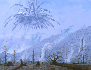 """Tunguska - A Minute After the Explosion"" painting by William K. Hartmann, 1997"
