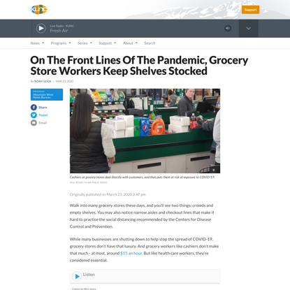 On The Front Lines Of The Pandemic, Grocery Store Workers Keep Shelves Stocked