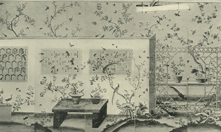 The wallpaper illustrated in Nancy McClelland's 1924 book 'Historic Wallpapers'