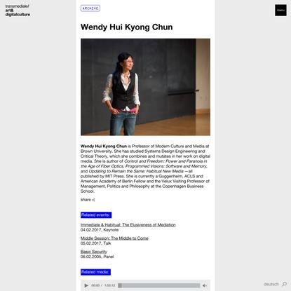 Wendy Hui Kyong Chun   transmediale