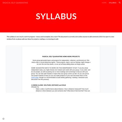 RADICAL SELF-QUARANTINE - SYLLABUS