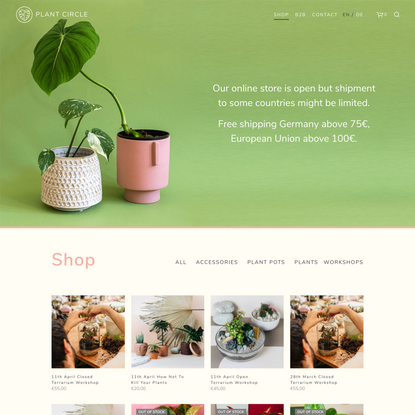 Shop rare and exotic plants by Plant Circle shipping to EU