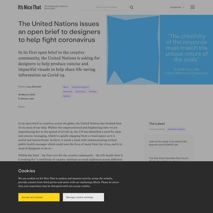 The United Nations issues an open brief to designers to help fight coronavirus