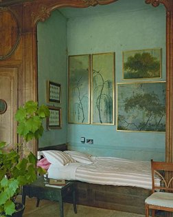 Escapist pondering   dreamy bedroom nook from the home of artist Peter Gabrielse in Normandy