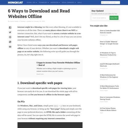 6 Ways to Download and Read Websites Offline - Hongkiat