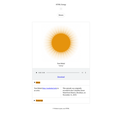 Tom Bubul on HTML Energy