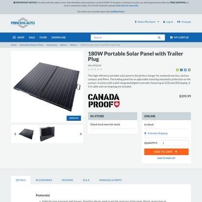 180W Portable Solar Panel with Trailer Plug | Princess Auto