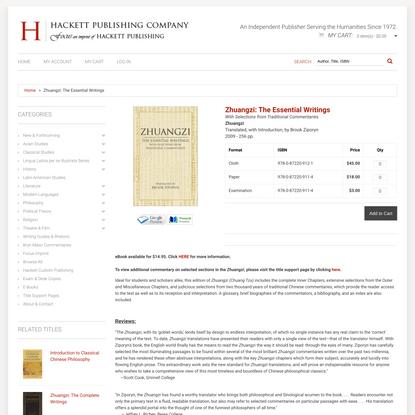 Zhuangzi: The Essential Writings