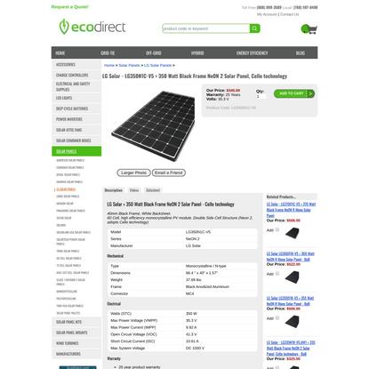 LG Solar 350 Watt Black Frame NeON 2 Solar Panel, Cello technology - LG350N1C-V5