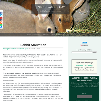 Rabbit starvation results from low fat, low carb, protein-only diets