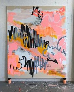 """Chateau Marmont"" by Susanne Bonowicz (@susannebonowicz) 180 x 145 cm, Acrylic and acrylic marker on canvas, 2019 // Tag us ..."