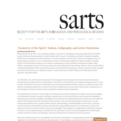 """""""Geometry of the Spirit"""": Sufism, Calligraphy, and Letter Mysticism - Society for the Arts in Religious and Theological Studies"""