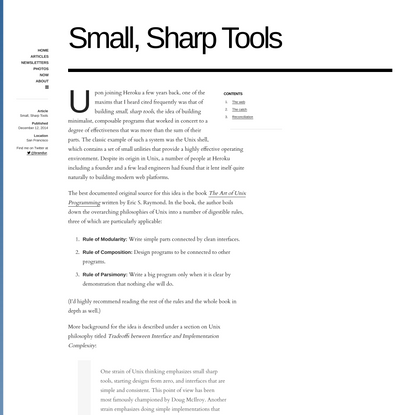 Brandur - Small, Sharp Tools (2014)