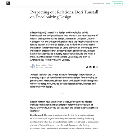 Respecting our Relations: Dori Tunstall on Decolonizing Design