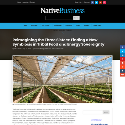 Reimagining the Three Sisters: Finding a New Symbiosis in Tribal Food and Energy Sovereignty - Native Business Magazine