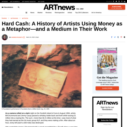Hard Cash: A History of Artists Using Money as a Metaphor—and a Medium in Their Work