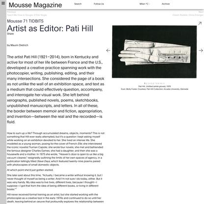 Artist as Editor: Pati Hill •