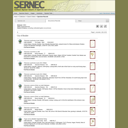 SERNEC Collection Search Parameters