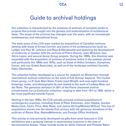 Guide to archival holdings