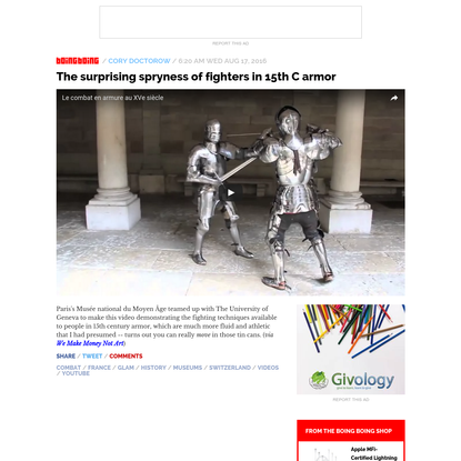 The surprising spryness of fighters in 15th C armor