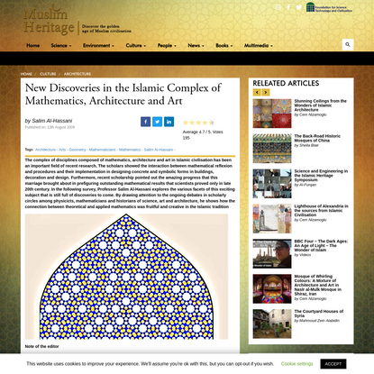 New Discoveries in the Islamic Complex of Mathematics, Architecture and Art - Muslim HeritageMuslim Heritage