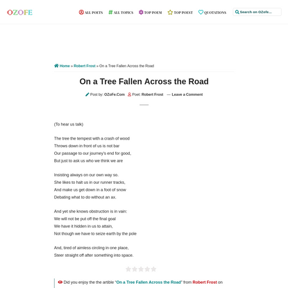 """Poem: """"On a Tree Fallen Across the Road"""" by Robert Frost on OZoFe.Com"""