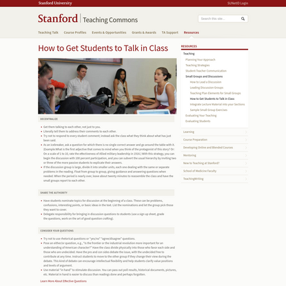How to Get Students to Talk in Class