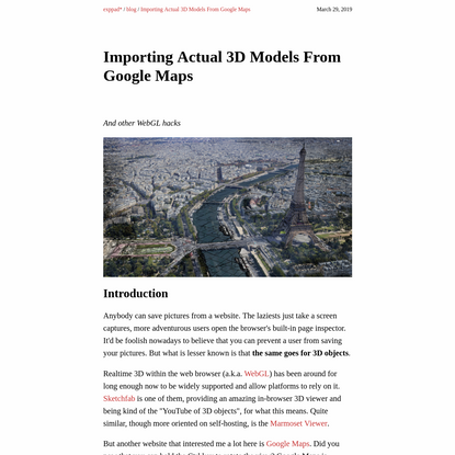 Importing Actual 3D Models From Google Maps