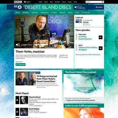 BBC Radio 4 - Desert Island Discs, Thom Yorke, musician