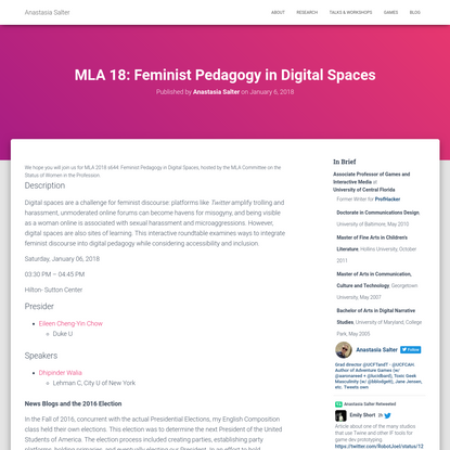 MLA 18: Feminist Pedagogy in Digital Spaces