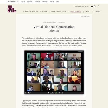 Virtual Dinners: Conversation Menus