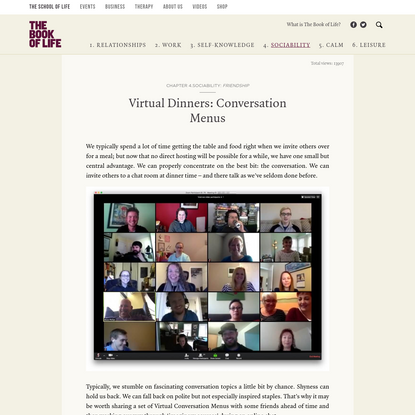 Virtual Dinners: Conversation Menus