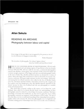 Sekula, Allan - Reading an Archive